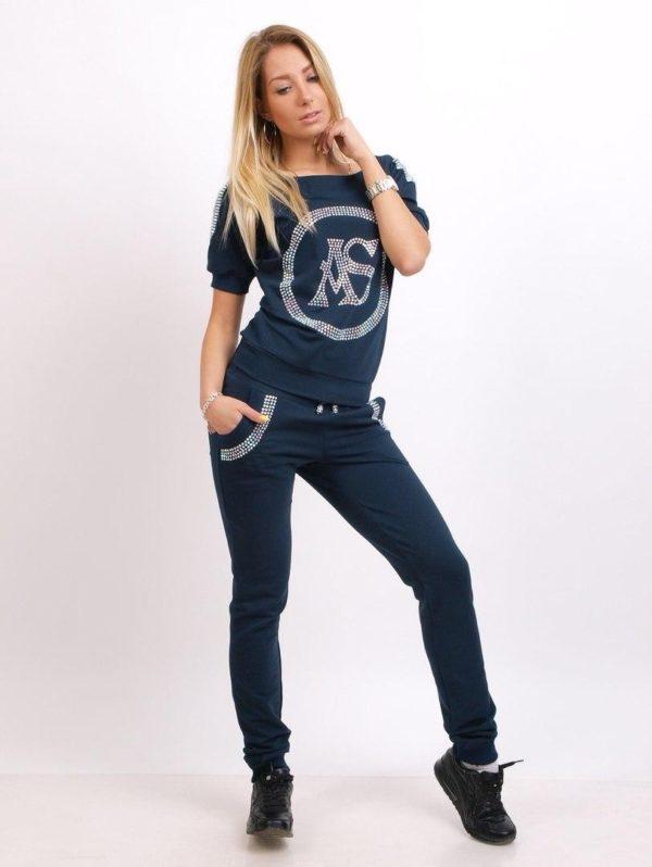 спортивный костюм женский модный: темно-синий со стразами