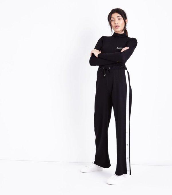 спортивные костюмы: модный женский черный белые лампасы