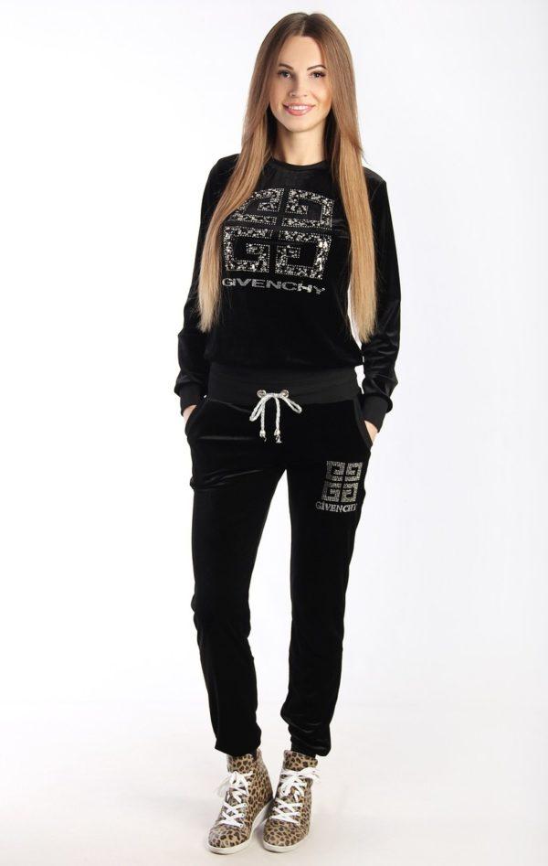 спортивный костюм женский модный: черный со стразами
