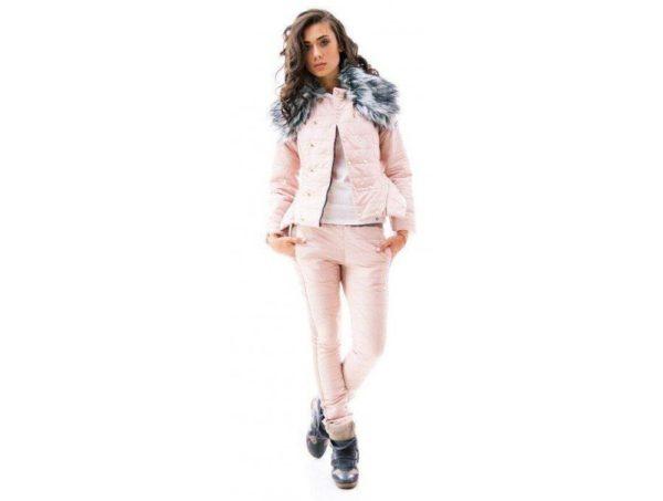 спортивный костюм женский 2019-2020: дутый розовый