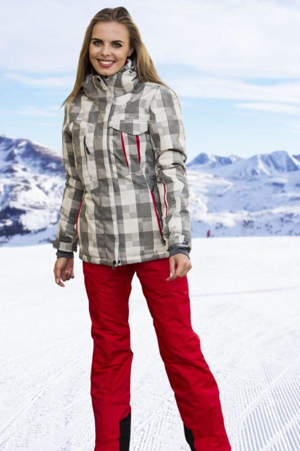спортивный костюм женский 2019-2020: лыжный красно-серый