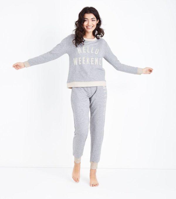 спортивный костюм женский 2019-2020: серый с надписью для дома