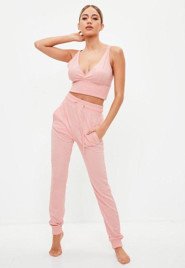 спортивный костюм 2019-2020 женский: розовый в пижамном стиле