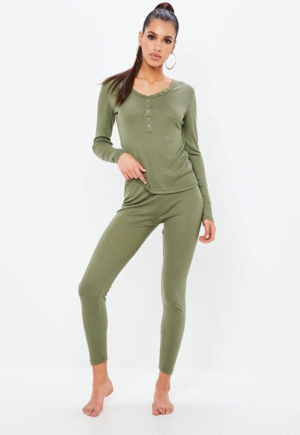 спортивный костюм 2019-2020 женский: оливковый в пижамном стиле