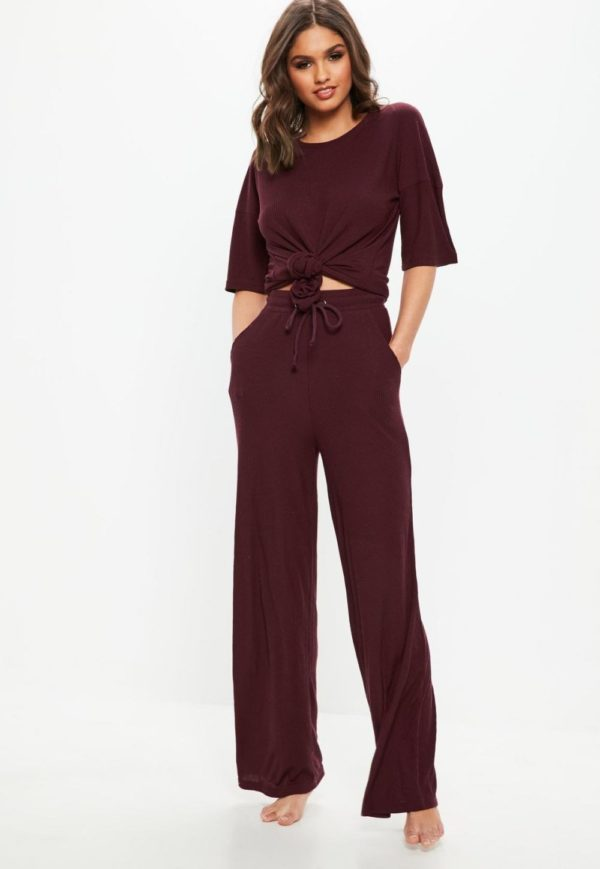 спортивный костюм 2019-2020 женский: бордовый в пижамном стиле