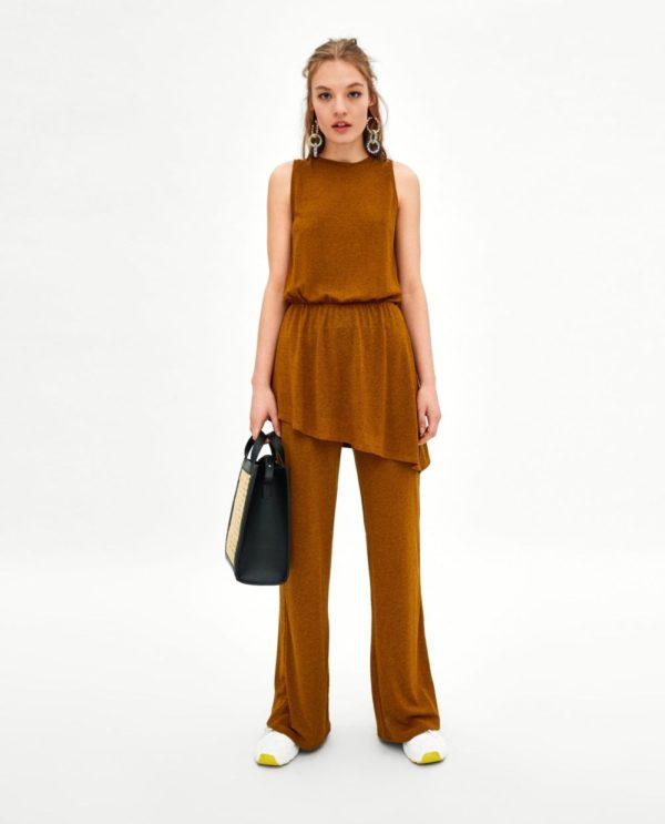 женские брюки Коричневые клеш
