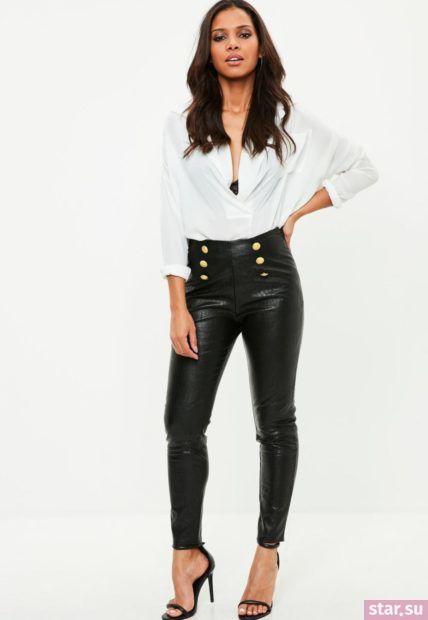 Модные черные кожаные брюки 2018