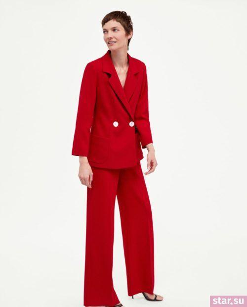 красные классические брюки 2018