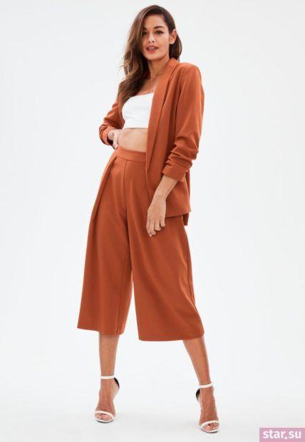 оранжевые брюки-кюлоты 2018