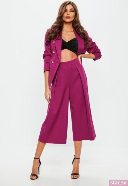фиолетовые брюки-кюлоты 2018