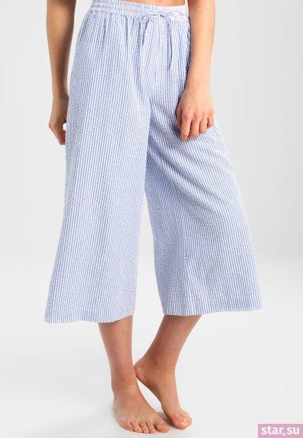 голубые брюки-кюлоты 2018