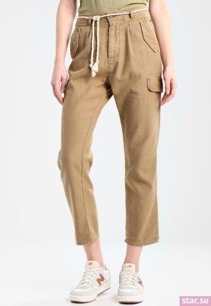 модные брюки для женщин: коричневые укороченные