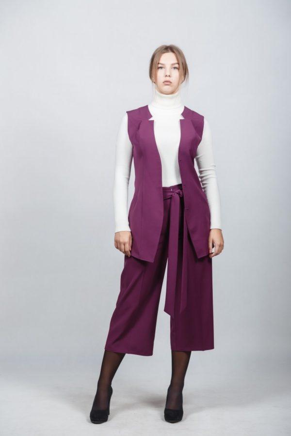 костюм 2018-2019 женский: без рукавов фиолетовый