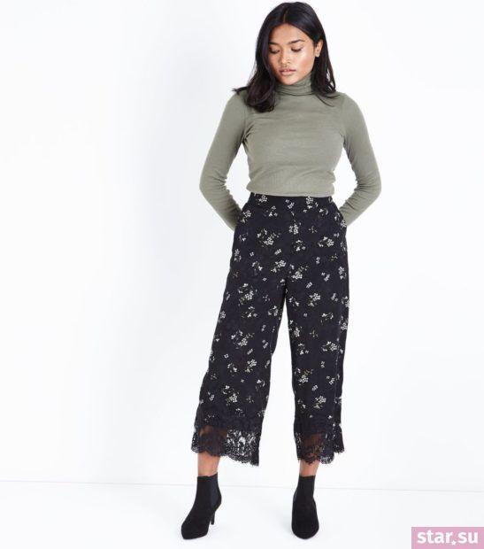 укороченные брюки с чем носить: легкие с серым гольфом