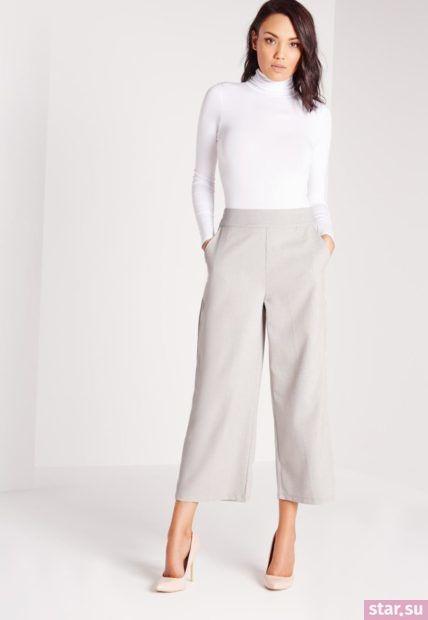 серые брюки кюлоты пол белый гольф