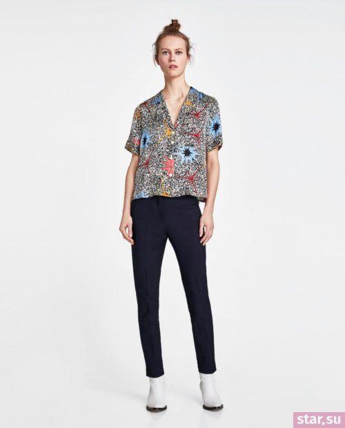 С чем носят короткие штаны: дудочки черные под цветастую шведку