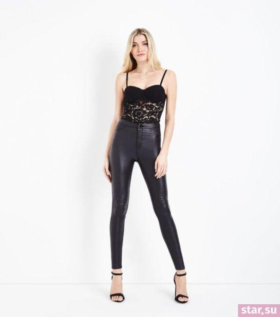 укороченные брюки с чем носить: черные узкие кожаные