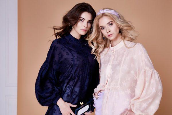 Образ с блузой синей и розовой