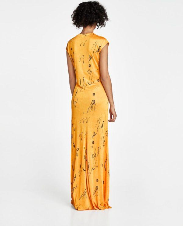 стильные луки 2020-2021: с желтым длинным платьем