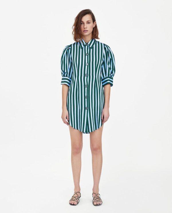 стильные луки 2019-2020: с платьем рубашкой в полоску