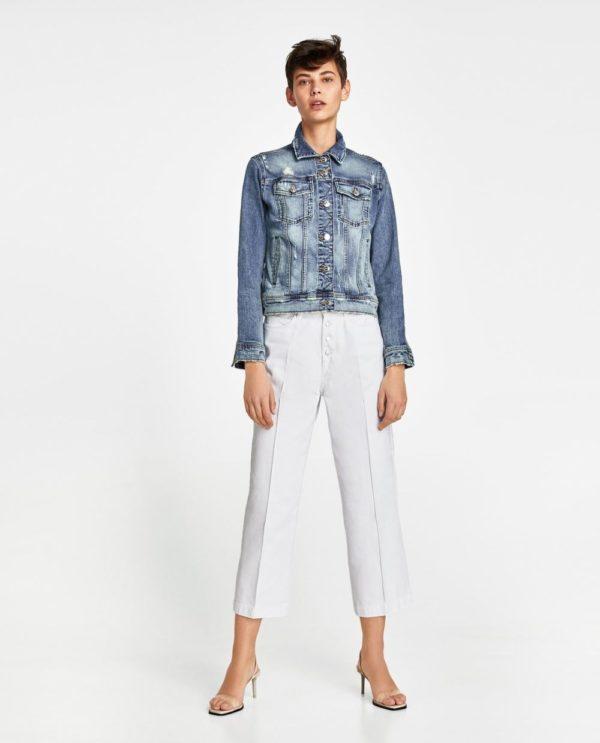 стильные луки 2019-2020: с брюками джинсовой курткой