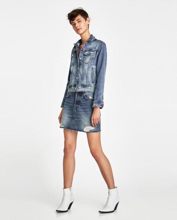 с джинсовой юбкой
