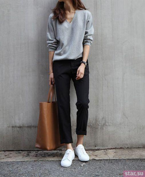 Прямые укороченные брюки женские
