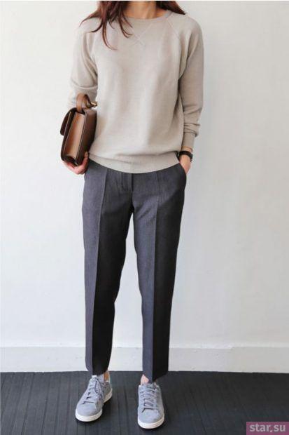 укороченные брюки с чем носить: прямые темно-серые