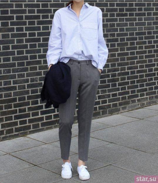 укороченные брюки с чем носить: прямые серые