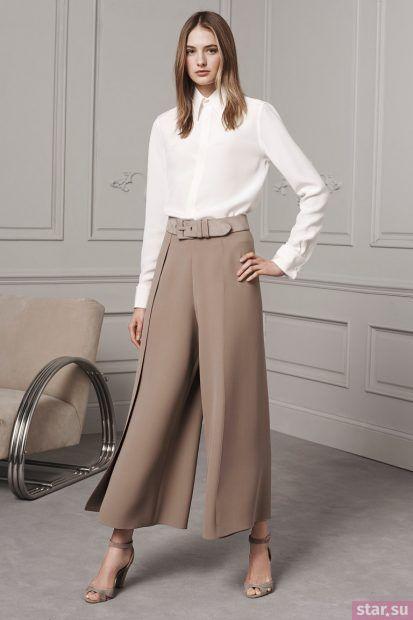Укороченные брюки кюлоты женские