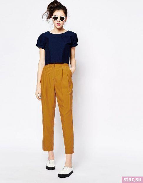 Укороченные брюки с завышенной талией женские
