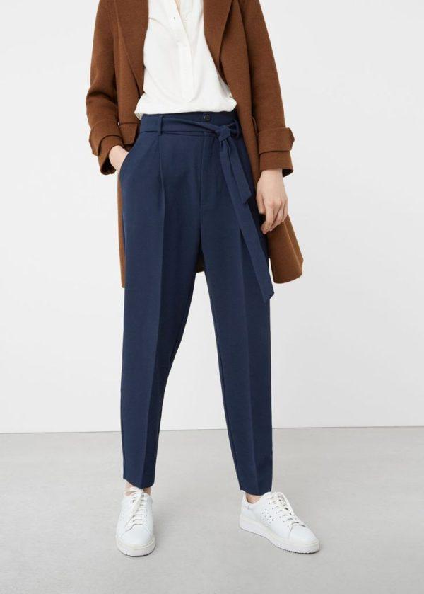 укороченные женские брюки с чем носить: синие чинос