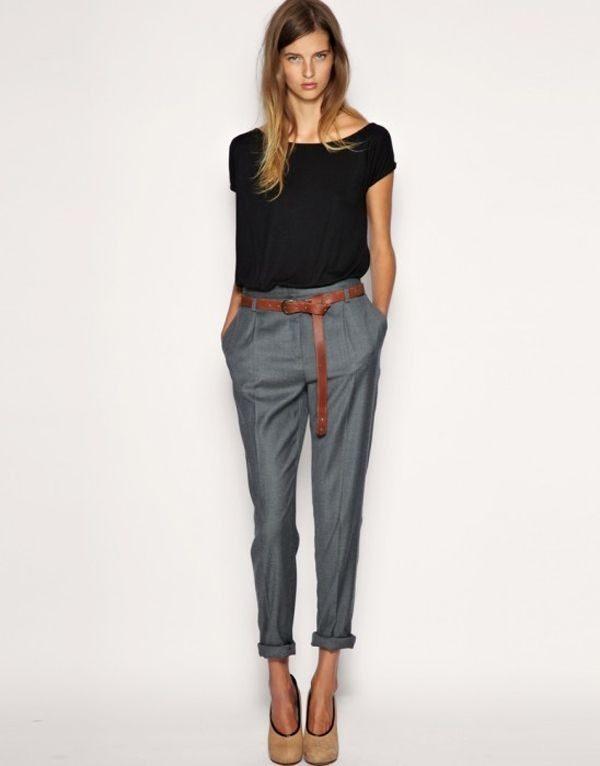 укороченные женские брюки с чем носить: чинос серые