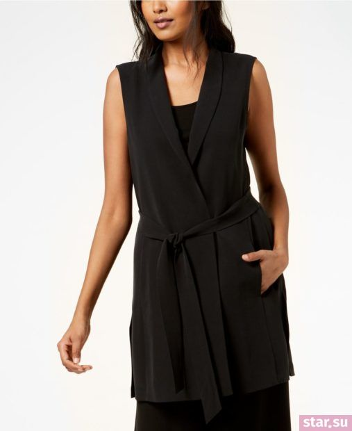 Модные ткани удлиненного черного жилета