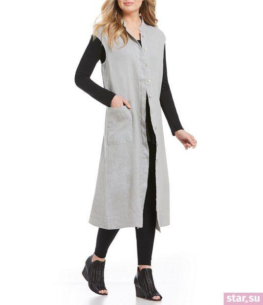 Удлиненный серый жилет без рукавов летом