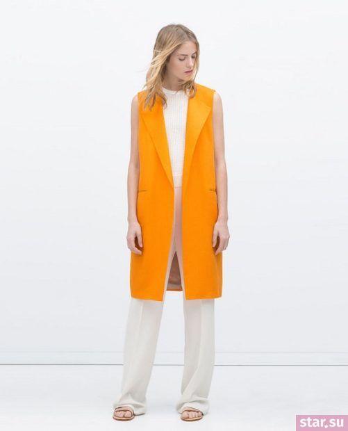 Удлиненный оранжевый жилет без рукавов