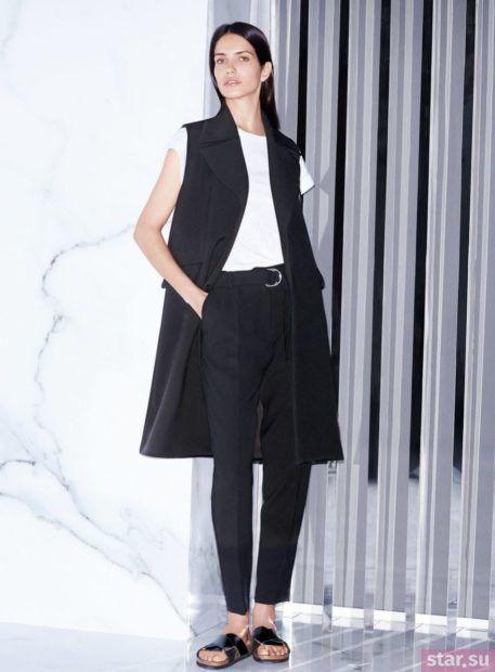 Удлиненный черный жилет без рукавов