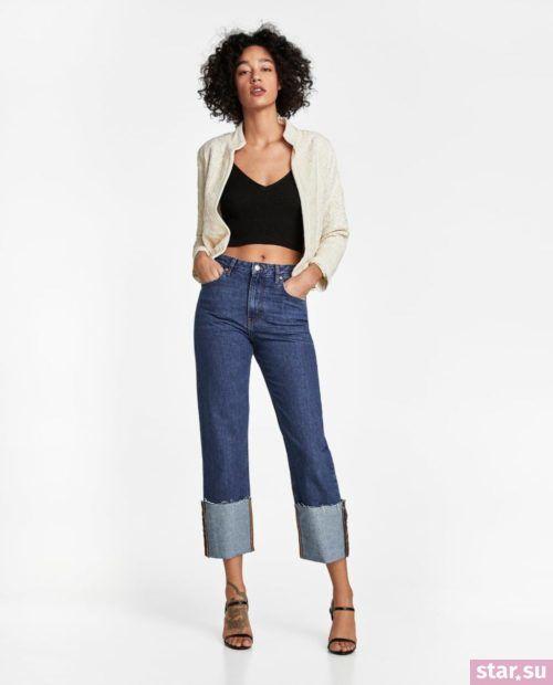 джинсы с подворотом синие