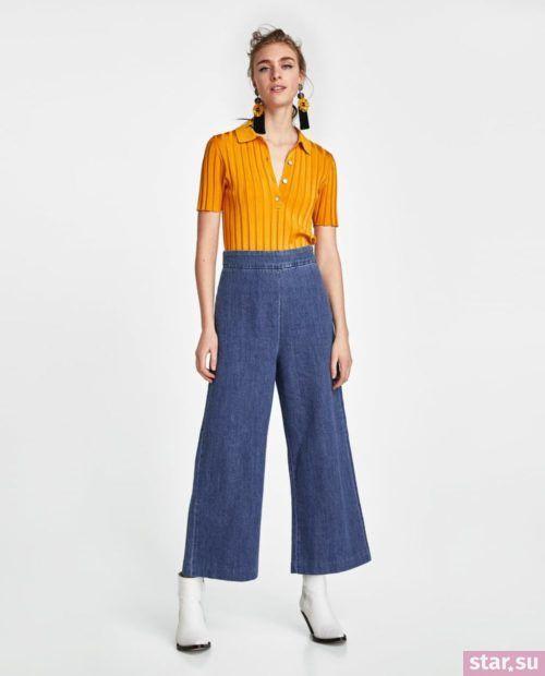 широкие джинсы синие желтый верх