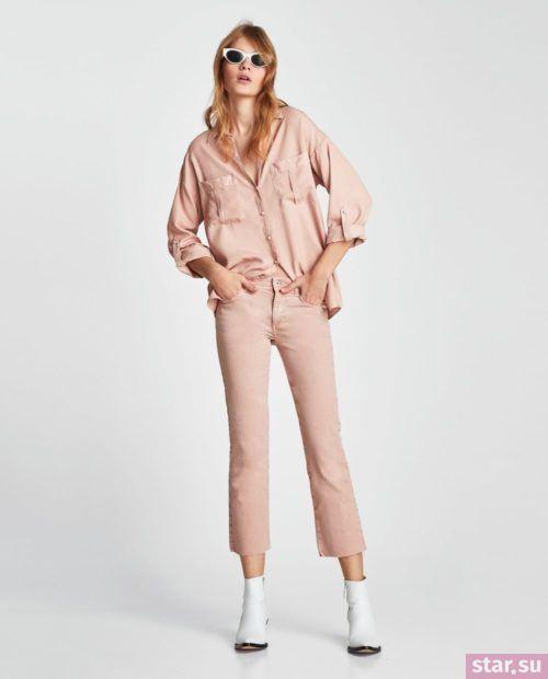 кремовые джинсы рубашка