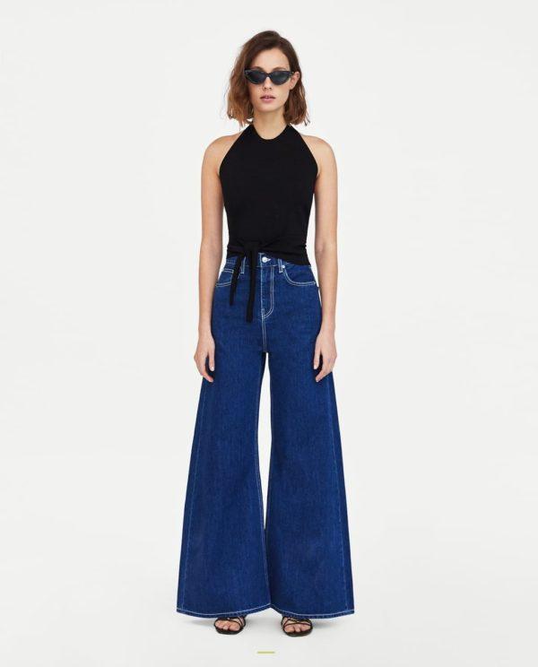 джинсы клёш синие черный топ