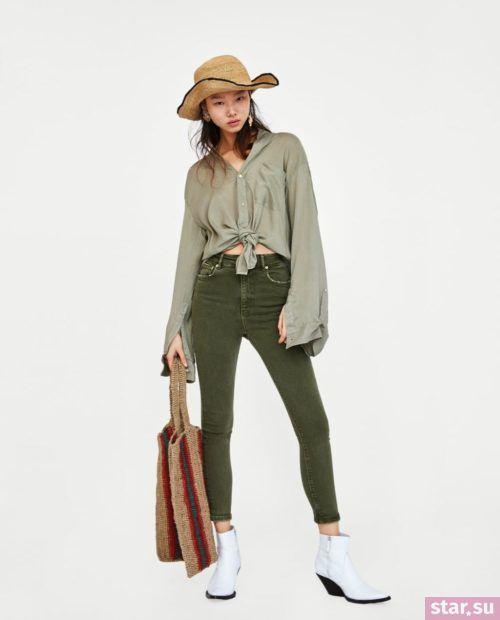зеленые джинсы рубашка