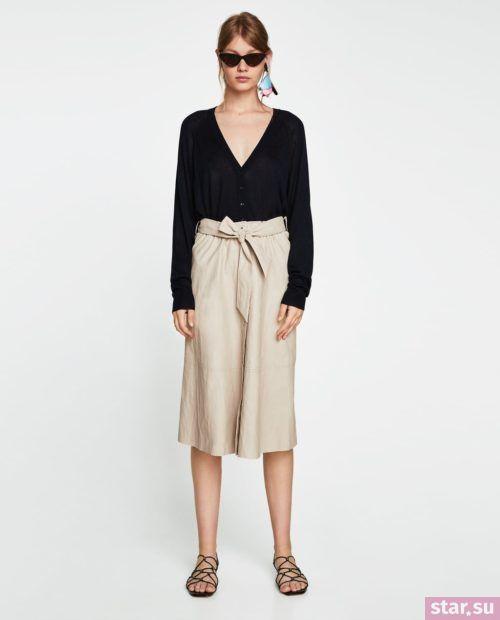модные образы лето 2019: бежевая юбка миди