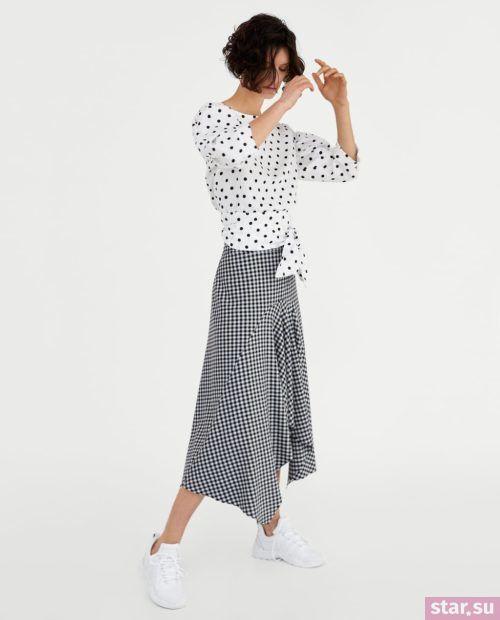модные образы лето 2019: юбка в клетку белый верх горох