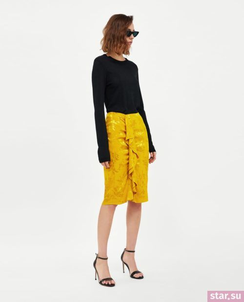 модные образы лето 2019: желтая юбка миди