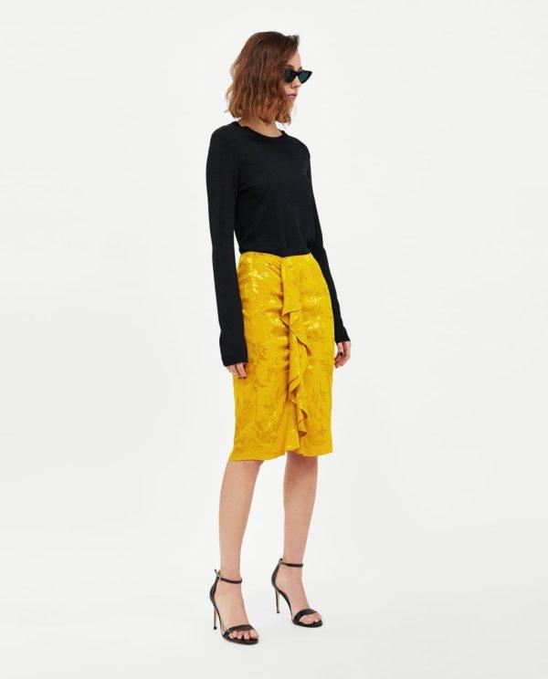 желтая юбка миди