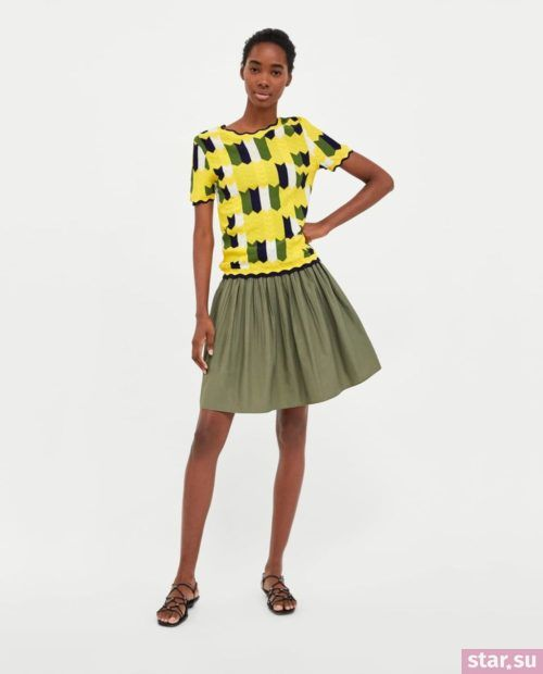 модные летние образы 2019: зеленая юбка
