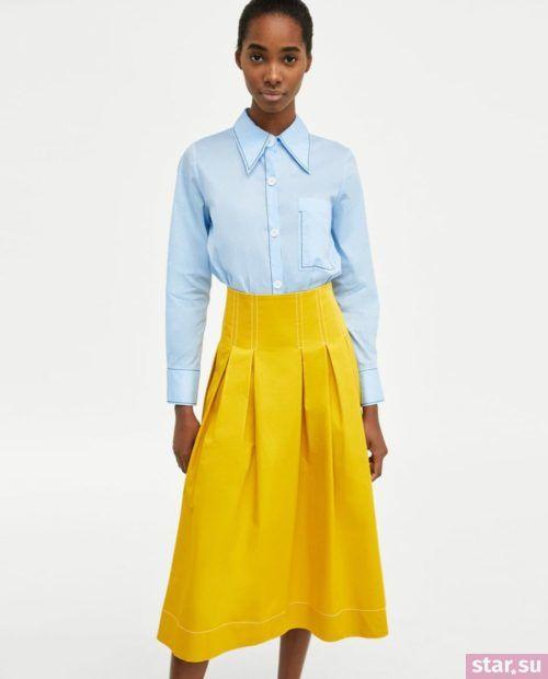 модные летние образы 2019: желтая юбка
