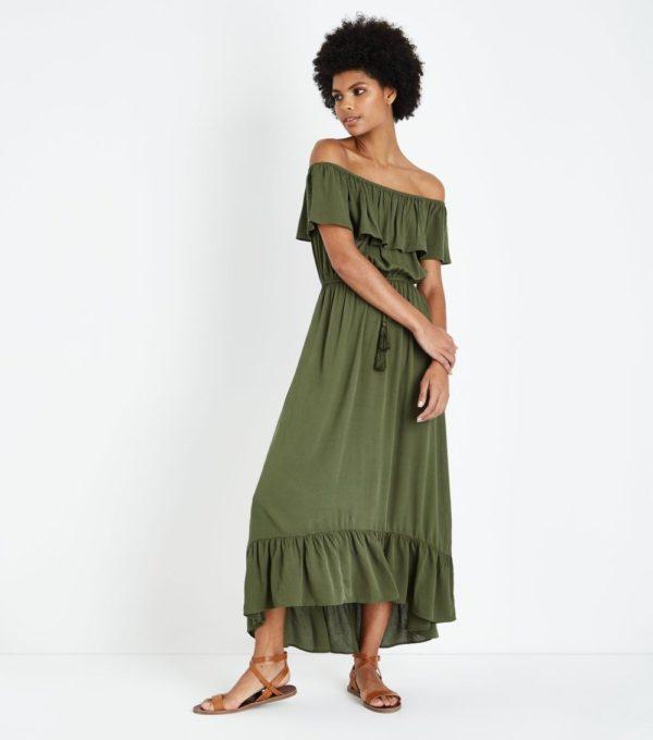 длинный зеленый сарафан