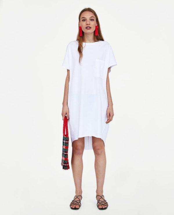 длинные футболка белая